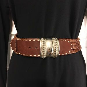 The Limited Brown Leather Belt Silver Buckle